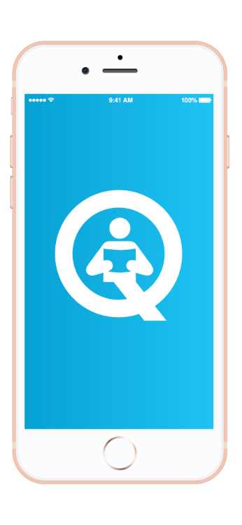 Phone displaying qea app.
